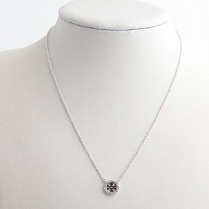 Tory Burch Crystal Circle Logo Necklace